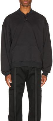 Fear Of God Everyday Henley Sweatshirt in Vintage Black | FWRD