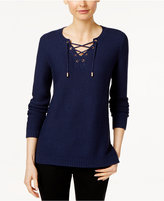 Charter Club Lace-Up Split-Neck Sweater, Only at Macy's