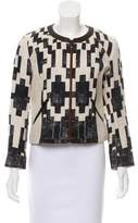 Barbara Bui Leather-Trimmed Zip-Up Jacket