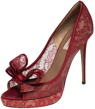 Valentino Red Lace Bow Peep Toe Platform Pumps Size 41