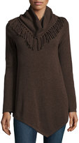 Neiman Marcus Cashmere Fringe-Neck Tunic, Brown