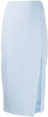 David Koma Chain Embellished Slit Detail Pencil Skirt