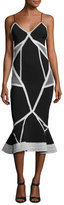 Jonathan Simkhai Contrast Lace-Insert Sleeveless Dress, Navy/White