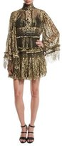 Roberto Cavalli Tiered Lace Bell-Sleeve Mini Dress, Gold