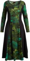 Aller Simplement Green & Black Geometric Midi Dress