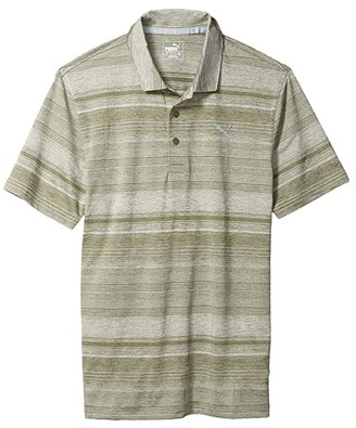 Puma Golf Variegated Stripe Polo Black Heather) Men's Clothing