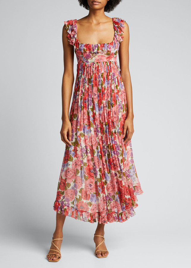 Zimmermann Poppy Frill-Edge Floral Midi Dress