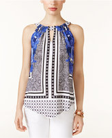 INC International Concepts Petite Printed Handkerchief-Hem Top, Only at Macy's