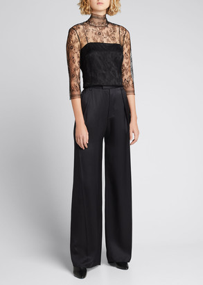Adam Lippes Lace High-Neck Shirt w/ Attached Camisole