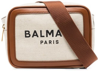 Balmain Two-Tone Logo Print Belt Bag