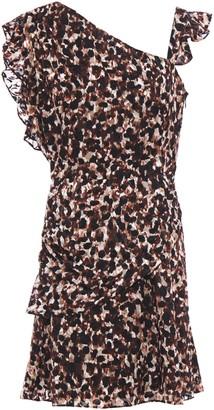 Rachel Zoe Ruffled Leopard-print Devore-chiffon Mini Dress