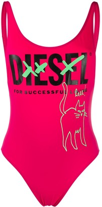 Diesel Cat Print One-Piece