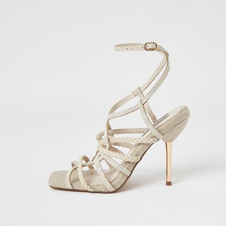 River Island Beige diamante tubular high heeled sandals