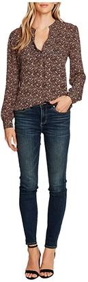 Vince Camuto Long Sleeve Ditsy Fields Split-Neck Blouse (Rich Black) Women's Clothing
