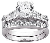Sterling Silver Wedding Band and Engagement Ring 2-pc. CZ Set