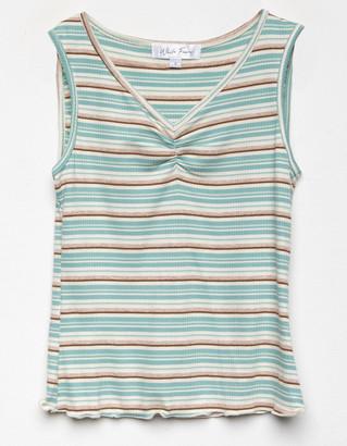 WHITE FAWN Stripe Cinch Girls Mint Tank