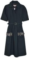 Dice Kayek Collared Dress in Dark Green