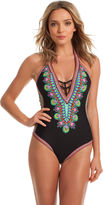 Trina Turk Dashiki V Plunge One Piece