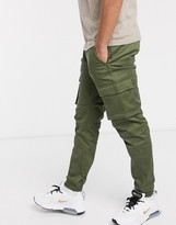 ONLY & SONS slim fit cargo with cuffed bottom in khaki