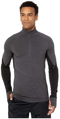 Icebreaker BodyfitZONEtm 260 Zone Long Sleeve Half Zip (Jet Heather/Black) Men's Clothing