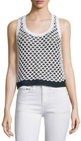 Rag & Bone Taryn Crocheted Colorblock Tank, Black/White