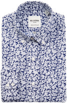 Ben Sherman Tailored Skinny Fit Blue & White Floral Print Dress Shirt