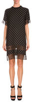 Givenchy Star-Print Lace-Inset Shift Dress, Black