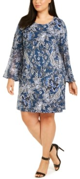 MSK Plus Size Paisley Bell-Sleeve Dress