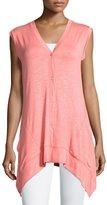 Neiman Marcus Arched-Hem Button-Front Vest, Rose