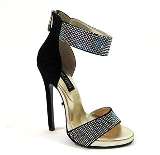 "The Highest Heel Women's Sultry Series 21 5"" Heel Sandal with Rhinestone Vamp and Ankle Cuff Platform"