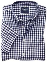 Charles Tyrwhitt Slim Fit Button-Down Non-Iron Poplin Short Sleeve Navy Blue Gingham Cotton Shirt Single Cuff Size XS