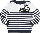 Fendi Stripes & Cat Intarsia Cotton Sweater
