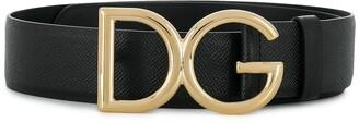 Dolce & Gabbana logo pebbled leather belt
