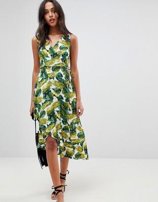 AX Paris Wrap Dress With Frill Palm Print