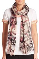 Burberry Floral Gauze Giant Wool & Silk Scarf