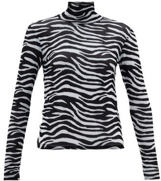 STAUD Zebra-print Roll-neck Mesh Top - White Black
