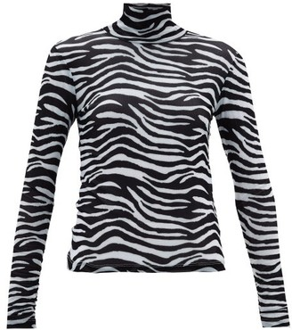 STAUD Zebra-print Roll-neck Mesh Top - Womens - White Black
