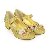 Girls Gold Embellished Glitter Shoes