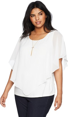 Amy Byer Women's Plus-Size V Front Popover Top with Necklace