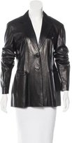 Donna Karan Leather Notched-Lapel Jacket