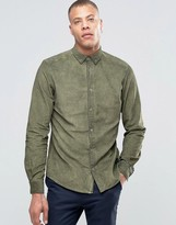 Solid Button Down Chord Shirt in Oil Wash