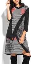 Gray Asymmetrical-Print Three-Quarter Sleeve Shift Dress