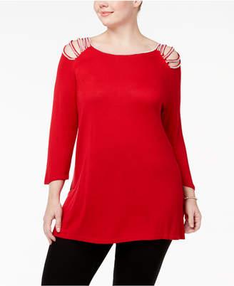 Belldini Plus Size Rhinestone-Studded Tunic Sweater