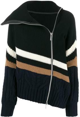 Sacai striped zip up jacket