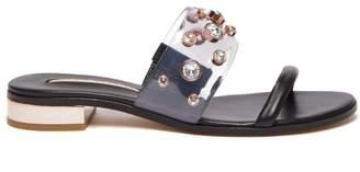 Sophia Webster Dina Gem Leather Slides - Womens - Black
