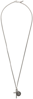 Emanuele Bicocchi Silver Cross and Coin Pendant Necklace