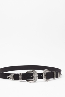 Nasty Gal Womens Double or Nothin' Faux Leather Western Belt - Black - ONE SIZE, Black
