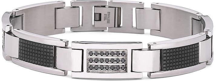 Black Diamond FINE JEWELRY Mens Bracelet, 1/3 CT. T.W. Steel