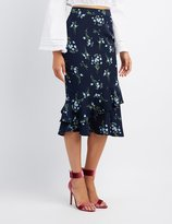 Charlotte Russe Floral Tiered Pencil Skirt