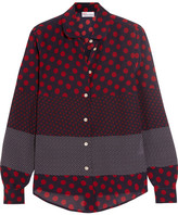 RED Valentino Polka-dot Silk Crepe De Chine Blouse - Burgundy